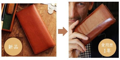 長財布のエイジング(経年変化)